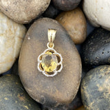 14K Gold Vermeil Champagne Quartz and White Topaz pendant set in 925 Sterling Silver