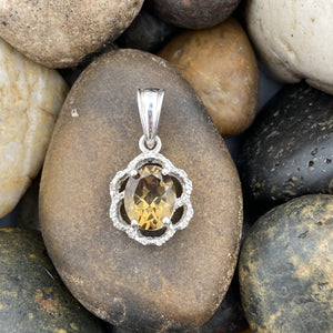 Champagne Quartz and White Topaz pendant set in 925 Sterling Silver