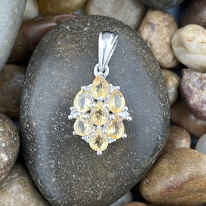 Citrine and White Topaz pendant set in 925 Sterling Silver