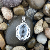 Crystal Quartz and White Topaz pendant set in 925 Sterling Silver