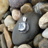 Crystal Quartz and Spinel pendant set in 925 Sterling Silver