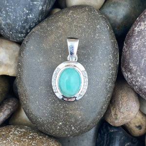 Emerald and White Zircon pendant set in 925 Sterling Silver
