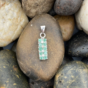 Emerald and Diamond pendant set in 925 Sterling Silver