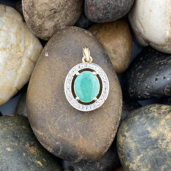 14K Gold Vermeil Emerald pendant set in 925 Sterling Silver