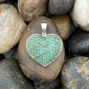 Emerald Heart pendant set in 925 Sterling Silver