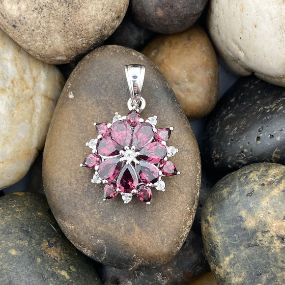 Rhodolite Garnet and White Topaz pendant set in 925 Sterling Silver