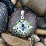 Green Amethyts and Chrome Diopside Pendant set in 925 Sterling Silver