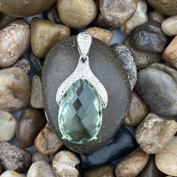 Green Amethyts Pendant set in 925 Sterling Silver