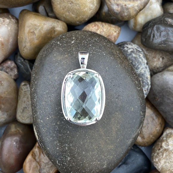 Green Amethyst pendant set in 925 Sterling Silver