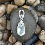 Green Amethyst and White Topaz pendant set in 925 Sterling Silver