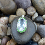 Green Amethyst and Chrome Diopside Pendant set in 925 Sterling Silver