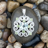 Green Amethyts and Peridot Pendant set in 925 Sterling Silver