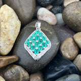 Green Onyx and White Topaz pendant set in 925 Sterling Silver