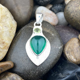 Green Onyx and Peridot pendant set in 925 Sterling Silver