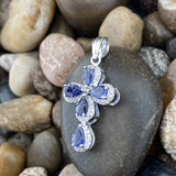 Iolite and White Topaz pendant set in 925 Sterling Silver