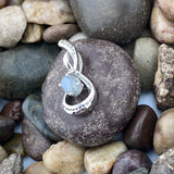 Labradorite and White Topaz pendant set in 925 Sterling Silver