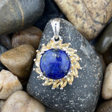 Lapis and Citrine pendant set in 925 Sterling Silver