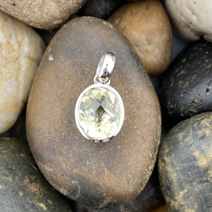 Lemon Quartz pendant set in 925 Sterling Silver