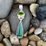 Malachite and Peridot pendant set in 925 Sterling Silver