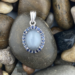 Grey Moonstone and Sapphire pendant set in 925 Sterling Silver