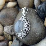 Grey Moonstone and White Topaz pendant set in 925 Sterling Silver