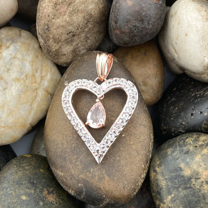 14K Rose Gold Vermeil Morganite and White Topaz Heart pendant set in 925 Sterling Silver