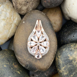 14K Rose Gold Vermeil Morganite and White Topaz pendant set in 925 Sterling Silver