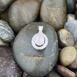 Morganite and White Topaz pendant set in 925 Sterling Silver