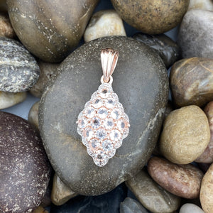 Rose Gold Finish Morganite and White Topaz pendant set in 925 Sterling Silver