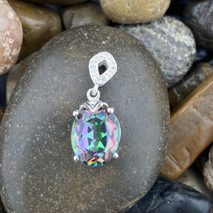 Mystic and White Topaz pendant set in 925 Sterling Silver