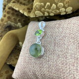 Prehnite and Peridot pendant set in 925 Sterling Silver