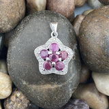 Ruby and White Topaz pendant set in 925 Sterling Silver