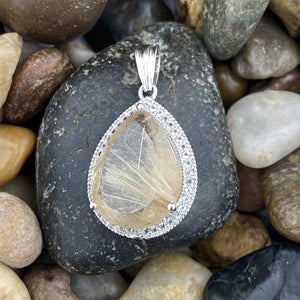 Rutilated Quartz and White Topaz pendant set in 925 Sterling Silver