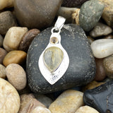 Rutilated Quartz and Citrine pendant set in 925 Sterling Silver