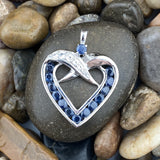 Sapphire and White Topaz pendant set in 925 Sterling Silver