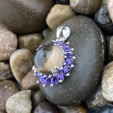 Smokey Quartz and Amethyst pendant set in 925 Sterling Silver