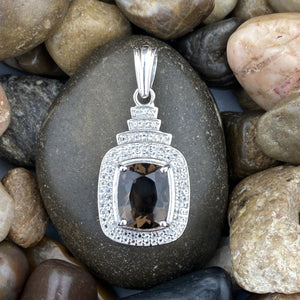 Smokey Quartz and White Topaz pendant set in 925 Sterling Silver