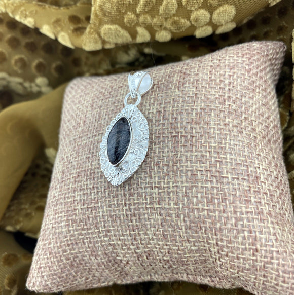 Tourmalated Quartz pendant set in 925 Sterling Silver