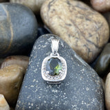 Tourmaline and White Topaz pendant set in 925 Sterling Silver
