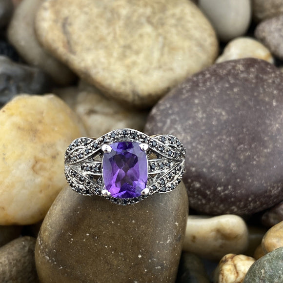 Amethyst and Spinel ring set in 925 Sterling Silver