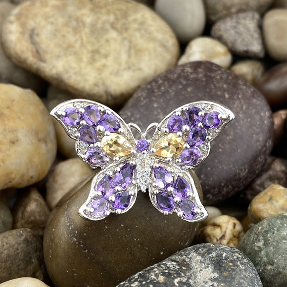 Butterfly design Amethyst, Citrine and White Topaz ring set in 925 Sterling Silver
