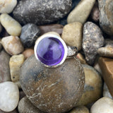 Amethyst and White Topaz ring set in 925 Sterling Silver