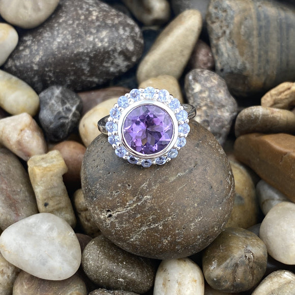 Amethyst and Tanzanite ring set in 925 Sterling Silver