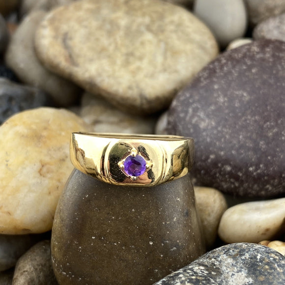 14K Gold Vermeil Finish Amethyst ring set in 925 Sterling Silver