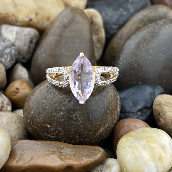 Gold Finish Amethyst and White Topaz ring set in 925 Sterling Silver
