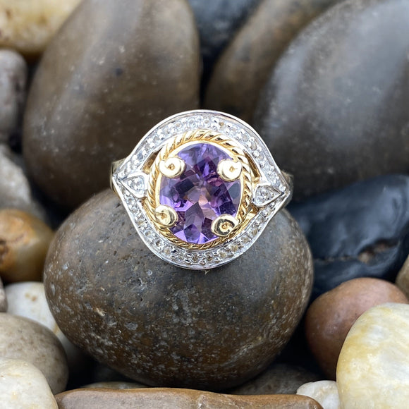 Gold Finish Amethyst Ring 6