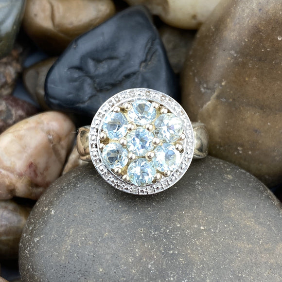 Gold Finish Aquamarine ring set in 925 Sterling Silver