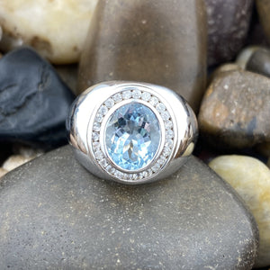 Aquamarine and White Topaz ring set in 925 Sterling Silver