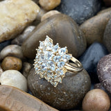 Gold Finish Aquamarine and White Topaz ring set in 925 Sterling Silver