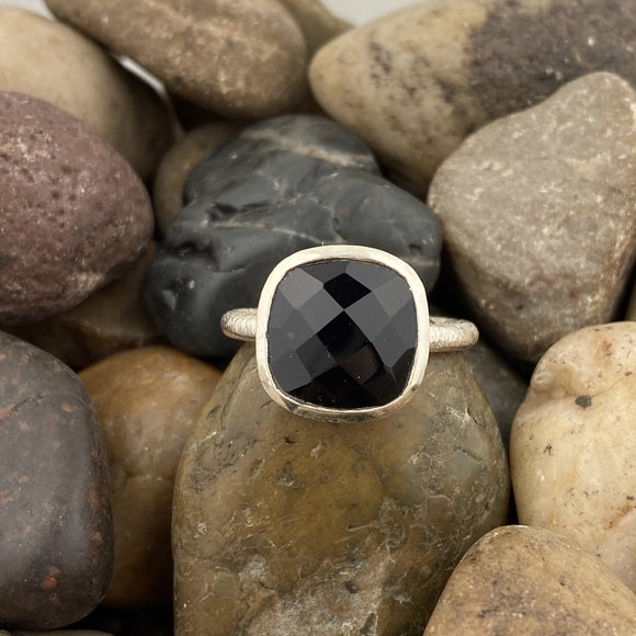 Black Onyx ring set in 925 Sterling Silver